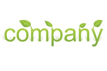 Wort company mit Blättern Wassertropfen