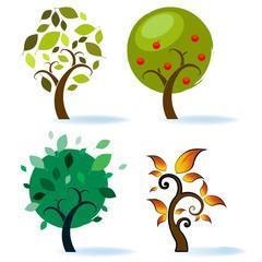 Various Tree Designs. Vector illustraion.