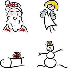 Weihnachtsmann, Engel, Schlitten und Schneemann
