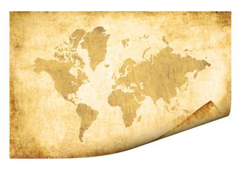 Pergamino con mapa del mundo