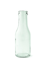 Empty glass bottle on white background