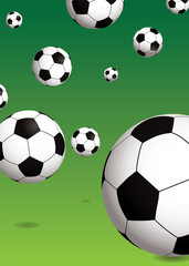 Bouncing footballs with drop shadow over a green background