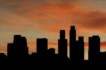 Los Angeles skyline at sunset with beautiful sky illustration