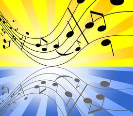 Illustration of background with sunburst and music