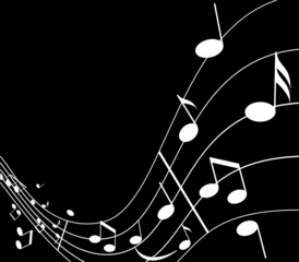 Illustration of background about music in black