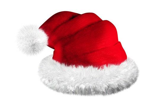 Bonnet du Père Noël sur fond blanc