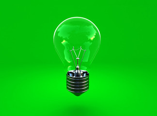 image 3d of green eco light bulb background
