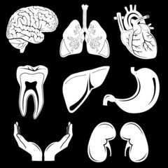 Vector medical icons. Black and white. Simply change.