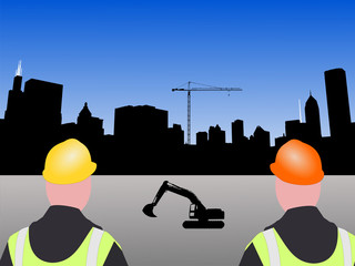 construction workers and Chicago skyline illustration