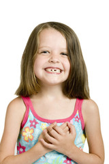 little girl with crooked teeth, isolated over white