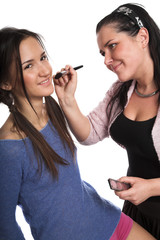 Model and the make-up artist before shooting