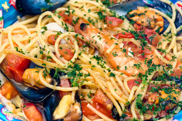 Spaghetti with Shrimp, clam, mussel and fresh tomato