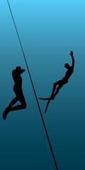 underwater diving, vector illustration