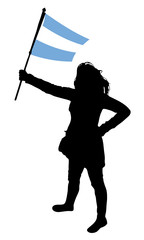 vector illustration of a young woman holding a flag of argentina