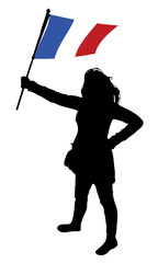 vector illustration of a young woman holding a flag of france