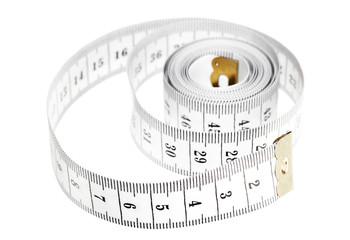 centimeter isolated on white, measuring tape