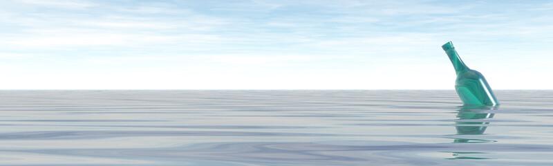 green bottle in the ocean - 3d illustration banner