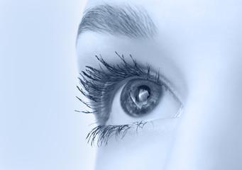 beautiful eye closeup, monochrome blue version