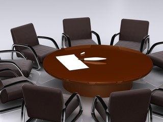 bargaining table. 3D