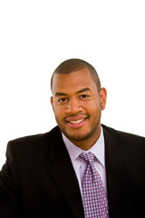 A young good looking black businessman in a suit