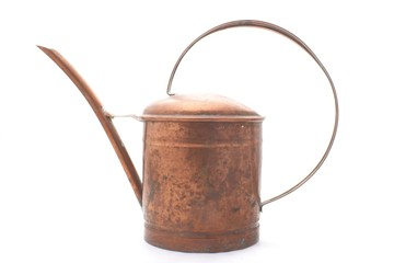 Copper watering can isolated on wite background