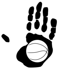 outline of basketball inside the print of a hand