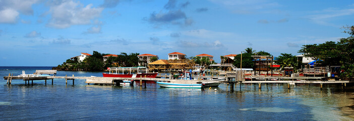 West End village, divers' capital on Roatan island, Honduras.