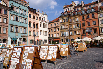 Old city colorful houses in Warsaw, Poland