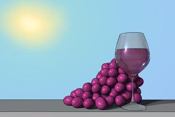 Uva rossa con bicchiere