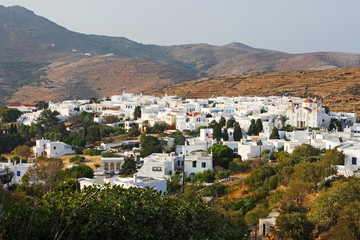 A high view of the village of Pirgos in Tinos island, Greece