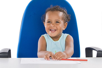 Adorable baby student a over white background
