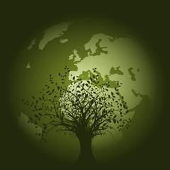 vecteur série - planète terre verte vectorielle sur fond blanc