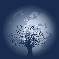 vecteur série, silhouette, vieil arbre devant la terre - vector