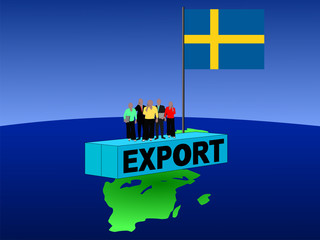 Swedish business team on export container with flag