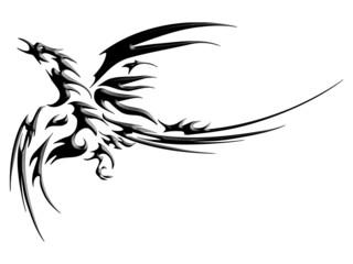 Phoenix fly tatoo isolated on white background