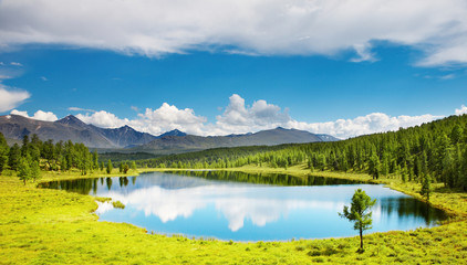 Wall Mural - Mountain landscape with beautiful lake and forest
