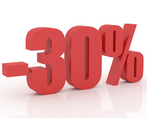 3D signs showing 30% discount and clearance