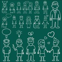 people characters (chalkboard style)