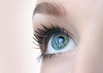 beautiful eye closeup, colour version