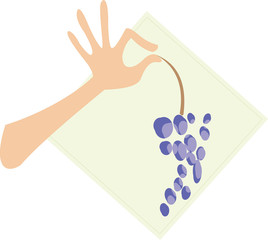 vector image of arm and grapes