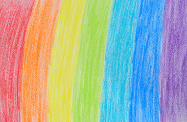Child's rainbow crayon drawing. Hand-drawn.