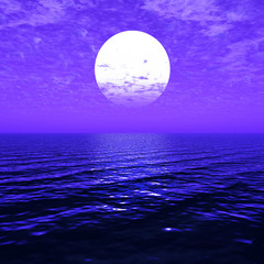 Beautiful sea and sky at sunset - digital artwork