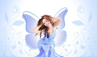 blue butterfly-girl