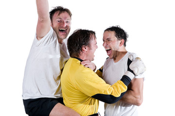 Happy soccer team. Full isolated studio picture