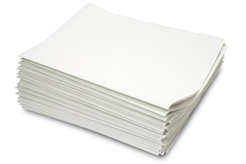a stack of blank newspapers on white - with clipping path