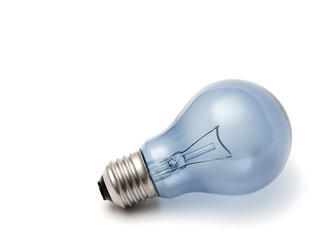 blue light bulb isolated over a white background