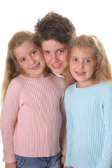 brother with twin sisters vertical