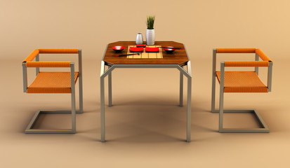 3d rendering of modern dining scene