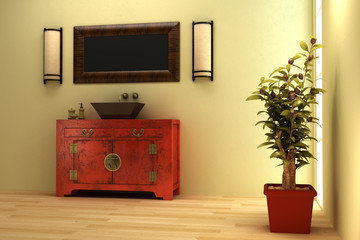 3d rendering of the Chinese bathroom