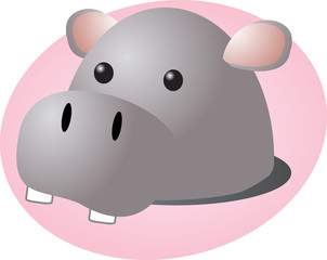 Cartoon head of a hippopotamus, cute animal  illustration
